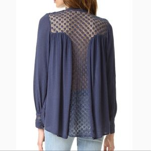 Free People // Crochet Back Button Up Blouse